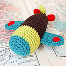 Handmade Crochet Airplane Rattle-brown fuselage