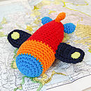 Handmade Crochet Airplane Rattle-red fuselage