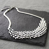 Metal Feather Necklace - sale