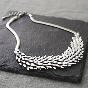 Metal Feather Necklace - statement jewellery