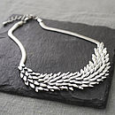 silver metal feather necklace