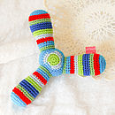Handmade Crochet Propeller Rattle-blue ends, green centre