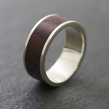Native Chunk Silver And Wood Ring
