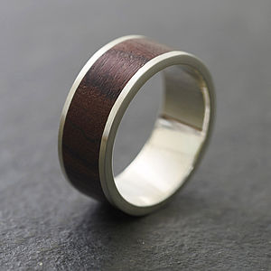 Native Chunk Silver And Wood Ring - rings