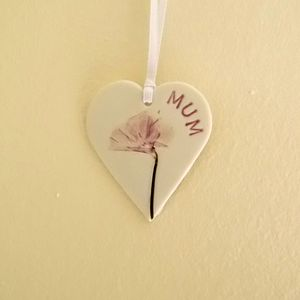 Personalised Flower Hanging Heart Decoration - ceramics