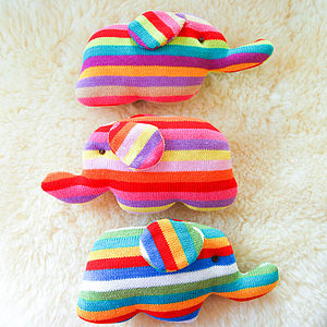 Handmade Knitted Elephant Rattle - baby care