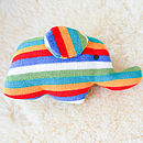 Handmade Knitted Elephant Rattle-white stripe