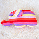 Handmade Knitted Elephant Rattle-pink stripe
