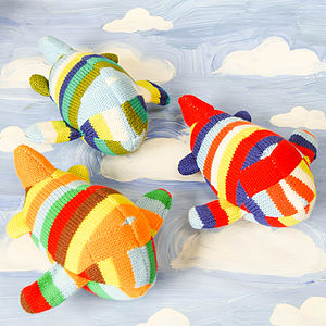 Handmade Knitted Airplane Rattle