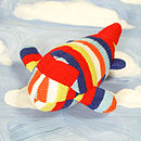 Handmade Knitted Airplane Rattle-red