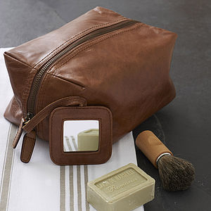 Men's Rugged Leather Wash Bag - for your other half