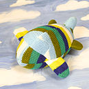 Handmade Knitted Airplane Rattle-blue