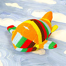 Handmade Knitted Airplane Rattle-orange