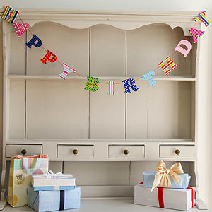 Wooden 'Happy Birthday' Garland - outdoor decorations