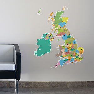 Large Map Of The UK Wall Stickers - decorative accessories
