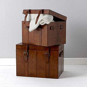 Leather Trunk In Small, Medium, And Large - toy boxes & chests