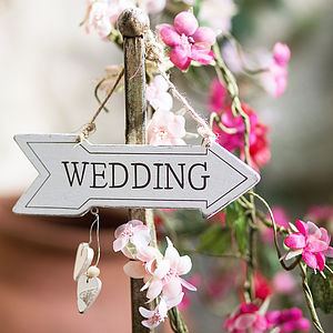 'Wedding' Cream Wooden Sign - outdoor decorations