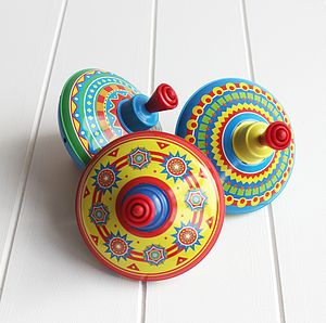 Colourful Tin Spinning Top - for artists