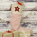 Ticking Stripe Christmas Stocking