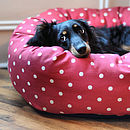 Red Dotty Donut Dog Bed With Removable Cushion