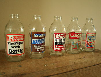 Milk Bottles With Retro Print