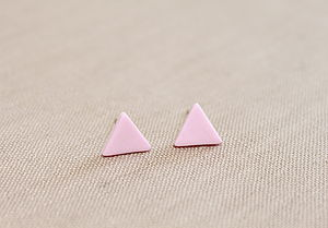 Small Pink Triangle Stud Earrings - earrings