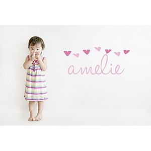 Heart Name Fabric Wall Sticker - baby's room
