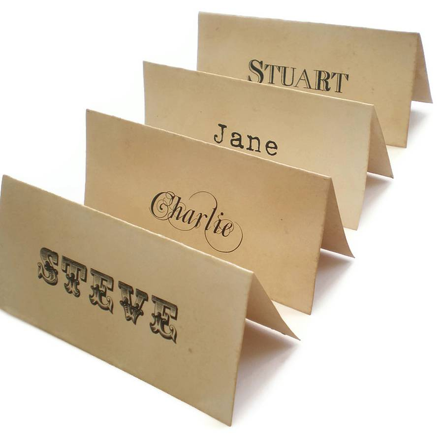Personalised place cards vintage style by edgeinspired for Table place cards