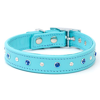 Crystal Combo Handmade Leather Dog Collar