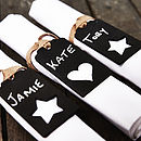 Personalised Blackboard Napkin Tie Place Name