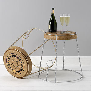 Champagne Cork Wire Cage Side Table - furniture