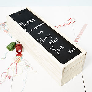 Personalised Blackboard Wooden Bottle Box - ribbon & wrap