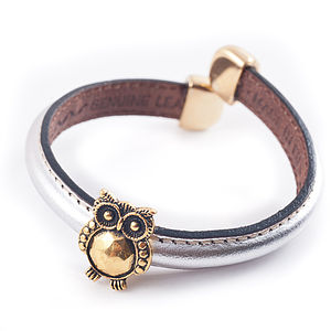 Leather Owl Charm Bangle