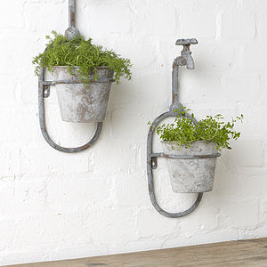 Vintage Style Single Tap Wall Planter - on trend: indoor gardens
