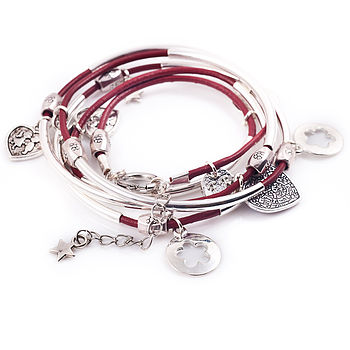 Silver Noodle Wrap Leather Charm Bracelet Rich Red