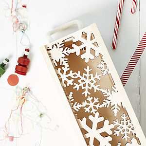 Lasercut Snowflakes Bottle Box - gift bags & boxes