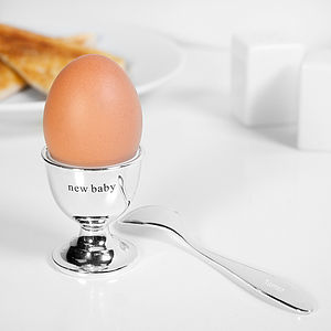 Silver Egg Cup And Personalised Spoon - baby & child sale