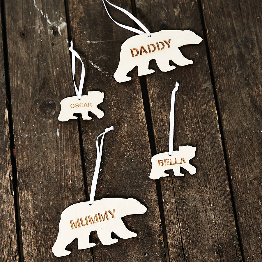 personalised polar bear christmas decoration - Bear Christmas Decorations