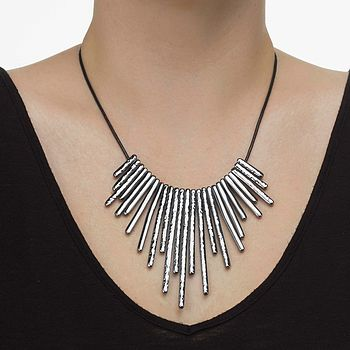 Gun Metal Bar Necklace
