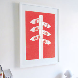 'Get Lost And Find Yourself' Art Print - posters & prints