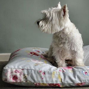 English Rose Floral Cushion Dog Bed - dogs