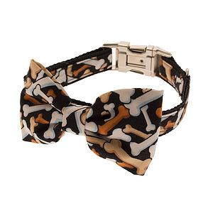 Bones Bow Tie Dog Collar - dog collars