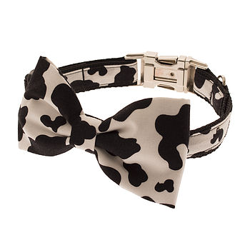 Mad Cow Bow Tie Dog Collar