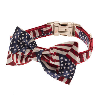 Patriotic Pup Bow Tie Dog Collar