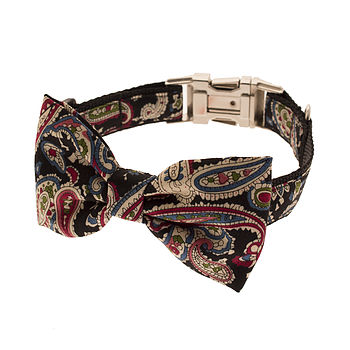 Prince Of Paisley Bow Tie Dog Collar