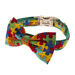 Puzzled Bow Tie Dog Collar - dog collars