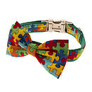 Puzzled Bow Tie Dog Collar