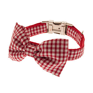 Gingham Bow Tie Dog Collar - pet collars