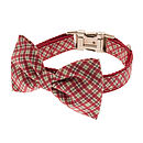 Thin Plaid Bow Tie Dog Collar