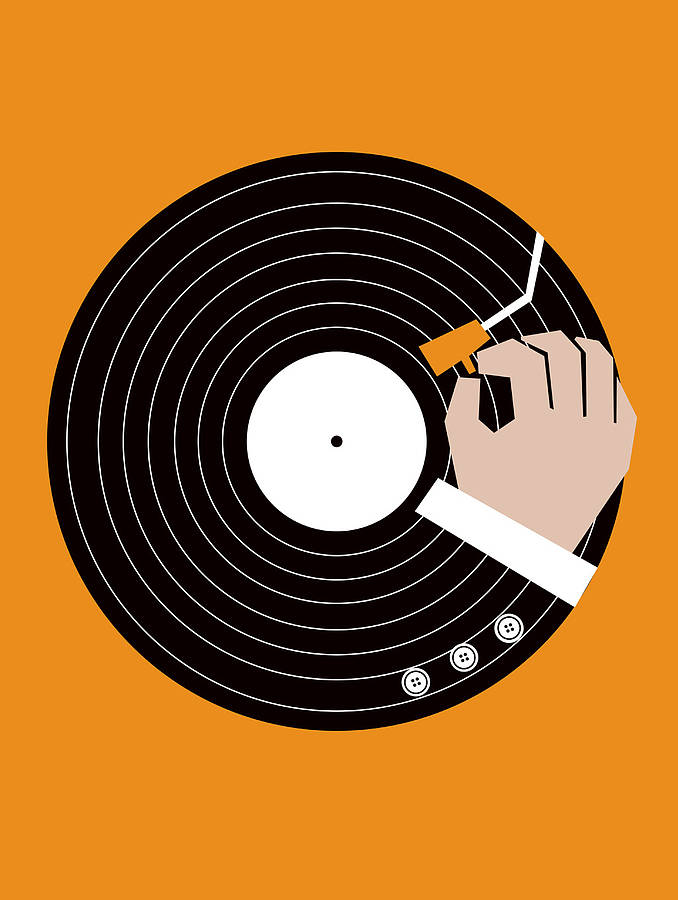 Music business graphic art print by little red dots for House music vinyl